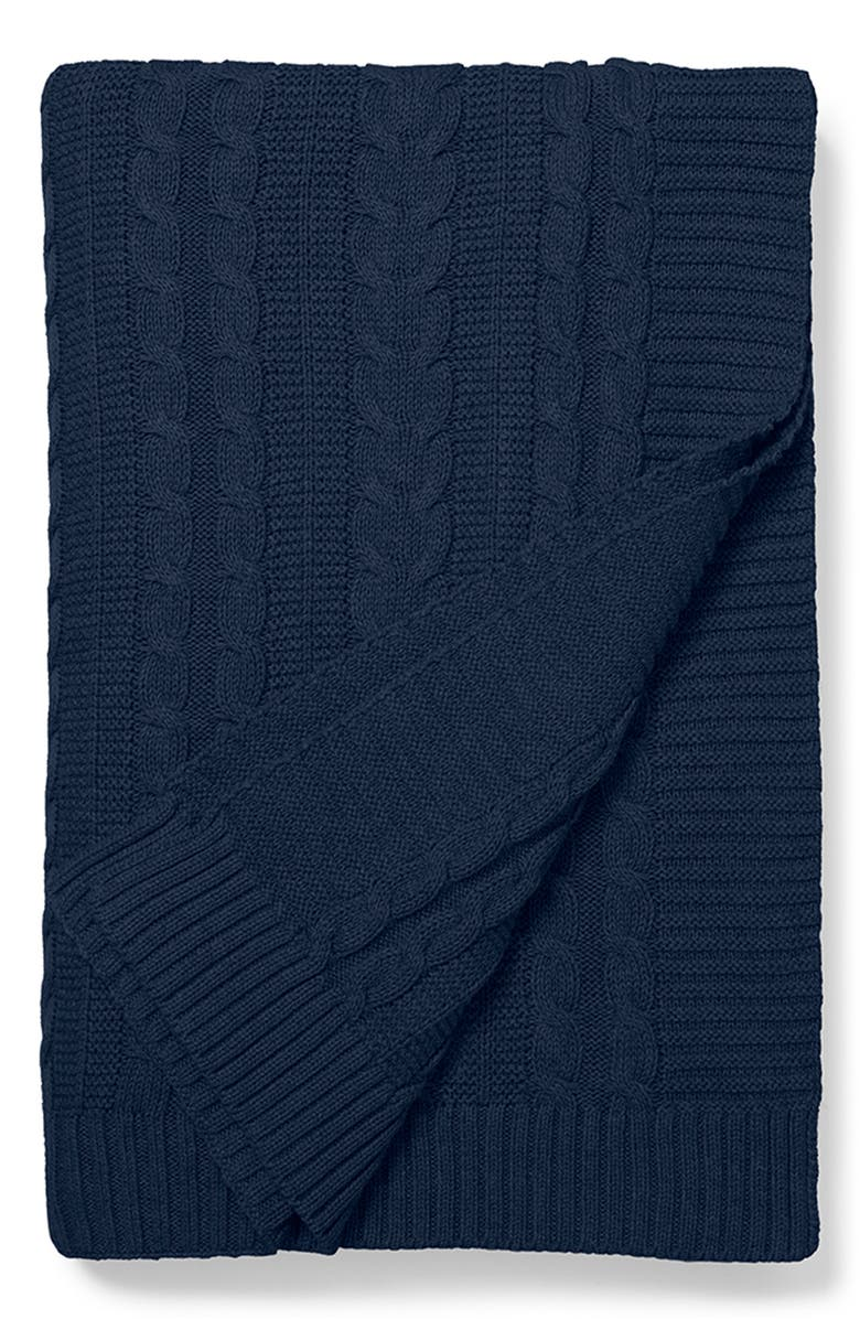 BOLL & BRANCH Cable Knit Organic Cotton Throw Blanket, Main, color, NAVY