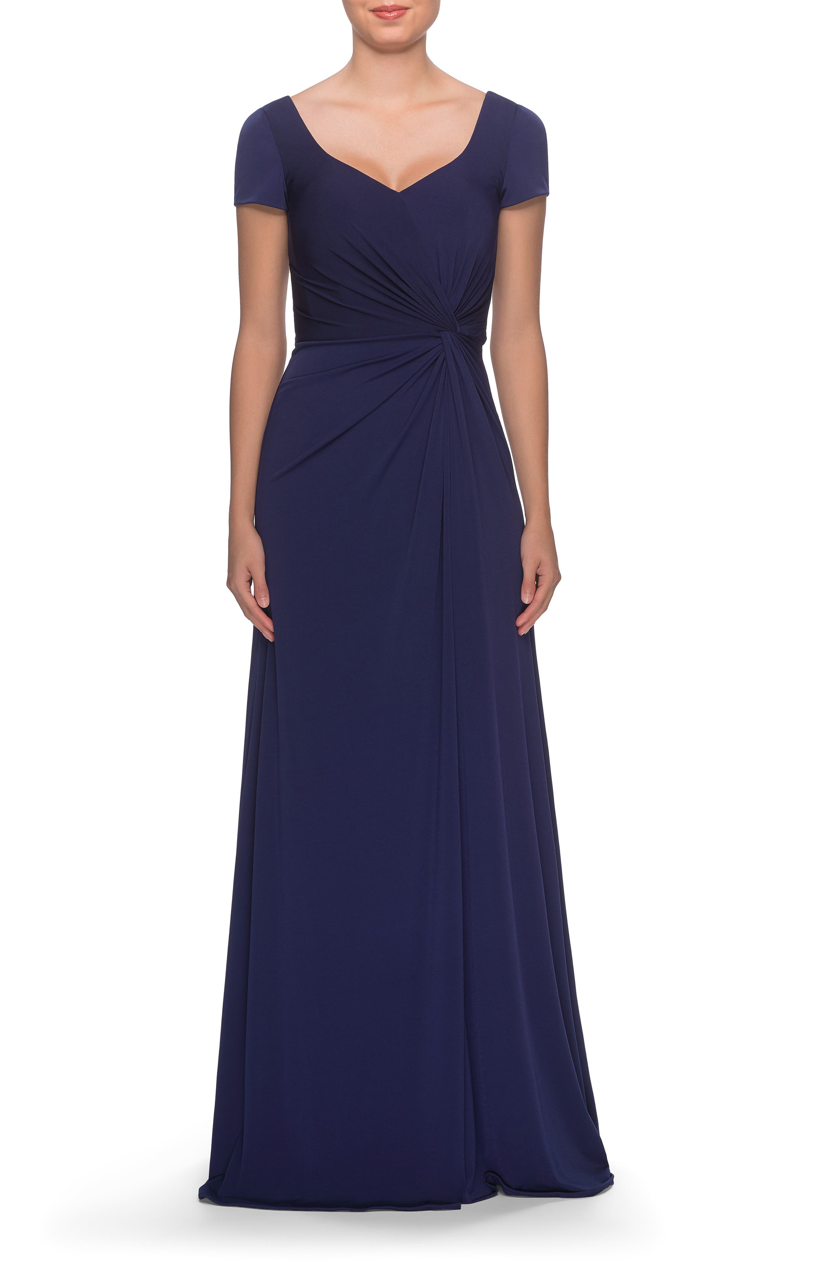 1950s Formal Dresses & Evening Gowns to Buy Womens La Femme Twist Front Jersey Gown Size 14 - Blue $318.00 AT vintagedancer.com