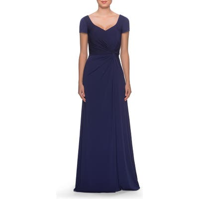 La Femme Twist Front Jersey Gown, Blue