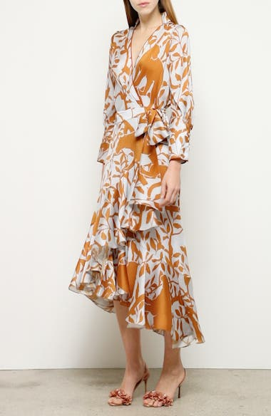 Jaguar Silhouette Asymmetrical Georgette Wrap Dress, video thumbnail
