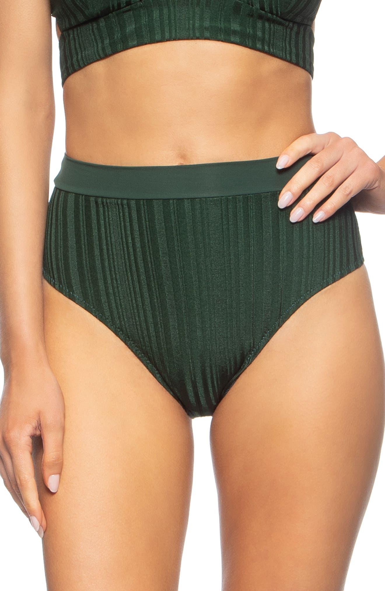 Tavik Pernille High Waist Bikini Bottoms, Green