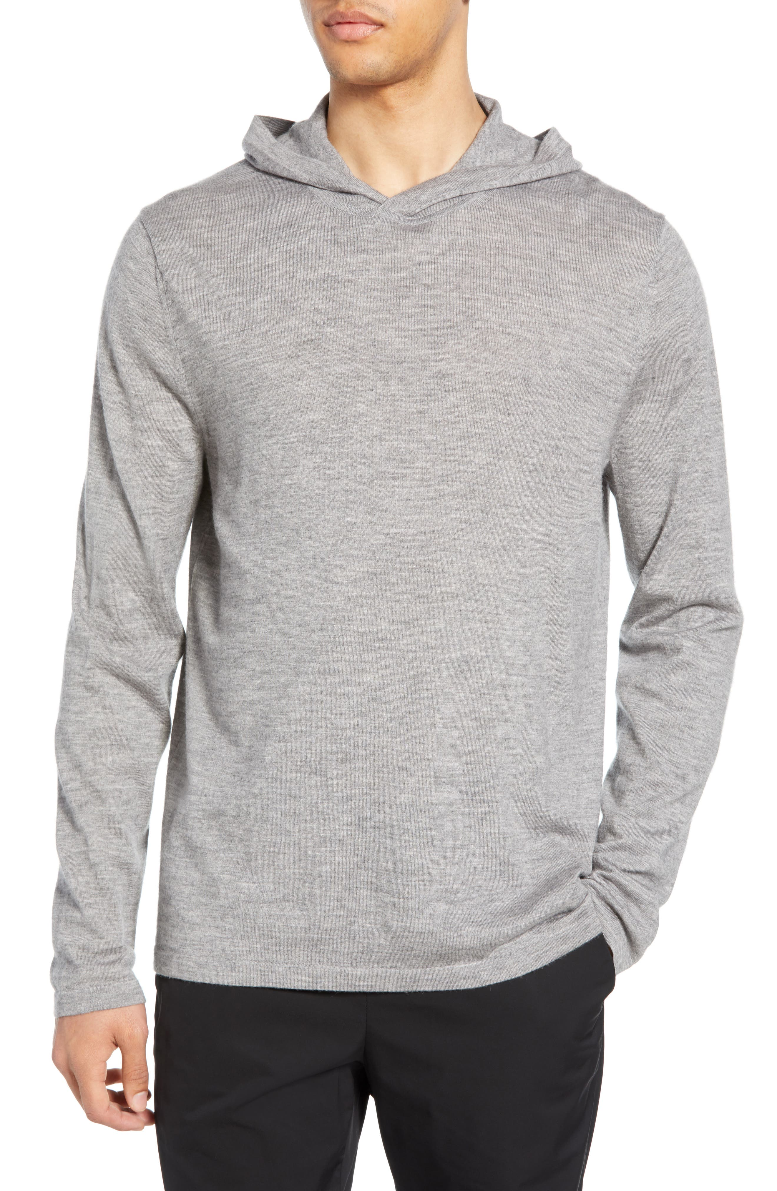 Wool & Cashmere Pullover Hoodie, Main, color, H GREY