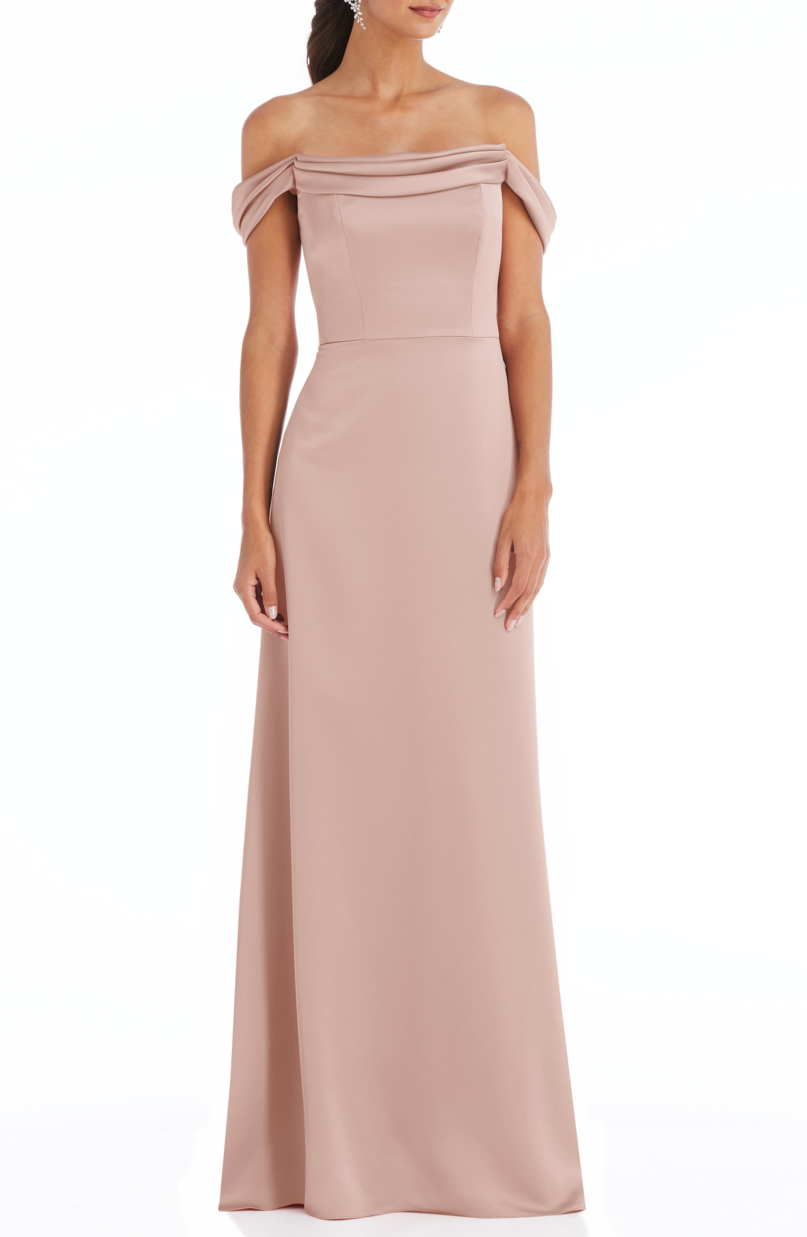 Off The Shoulder A-Line Charmeuse Gown