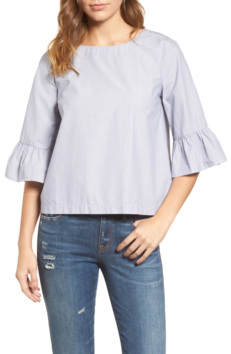 MADEWELL Stripe Bell Sleeve Top, Main, color, 409