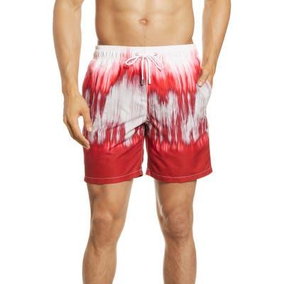 Bugatchi Swim Trunks, Red