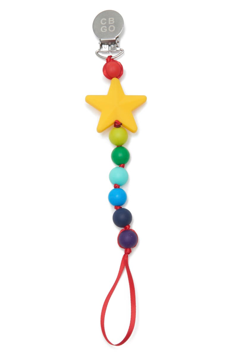 CHEWBEADS Star Pacifier Clip, Main, color, MULTI