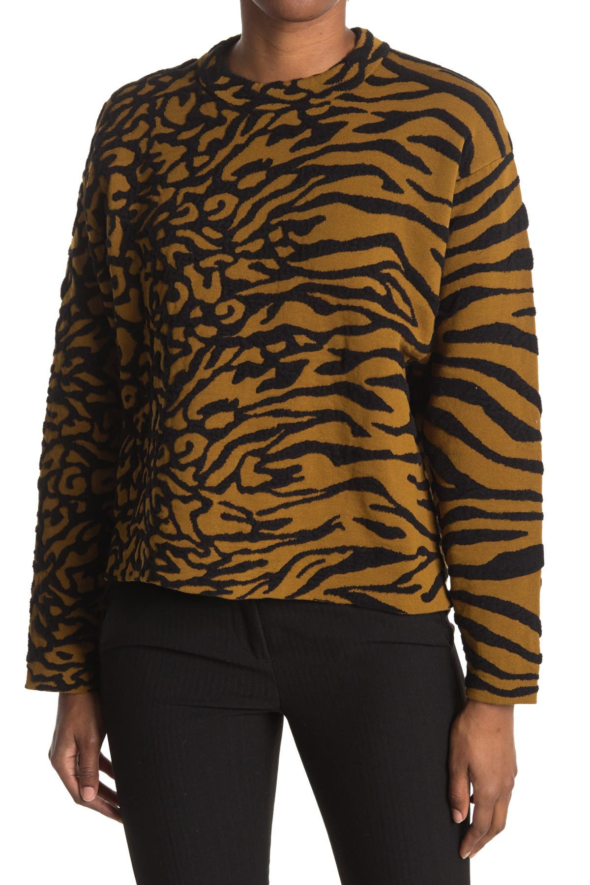 Image of Proenza Schouler Animal Pattern Crop Pullover Sweater