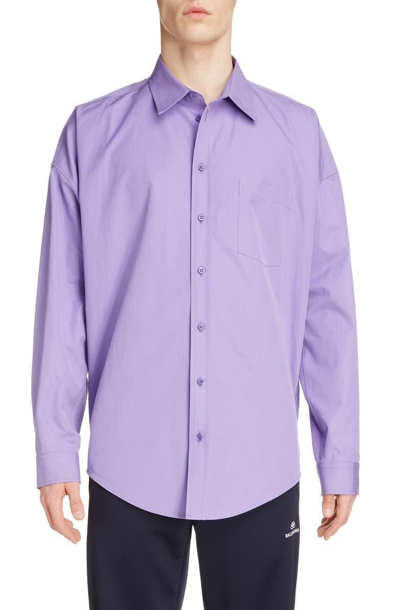 BALENCIAGA Long Sleeve Button-Up Cocoon Shirt, Main, color, LIGHT PURPLE