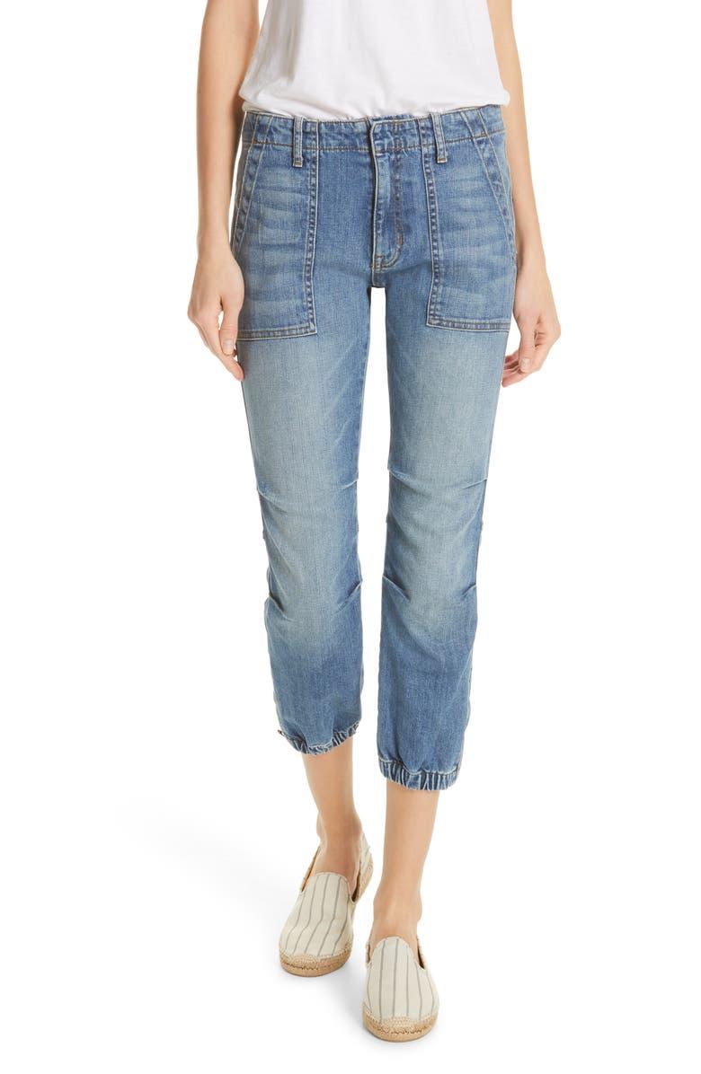 NILI LOTAN Crop French Military Jeans, Main, color, DUANE WASH