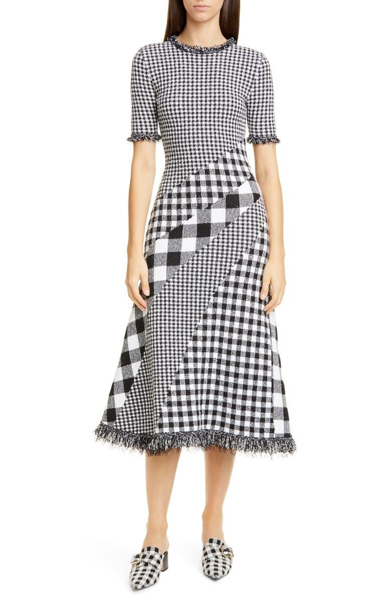 OSCAR DE LA RENTA Mixed Gingham Tweed Knit Dress, Main, color, 001