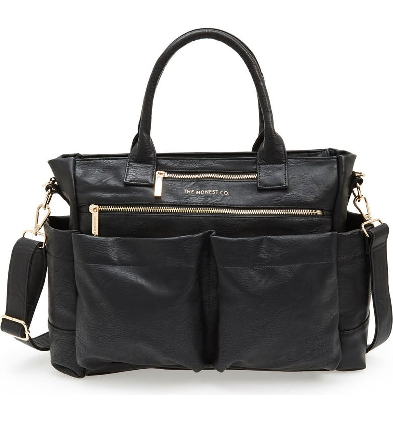 THE HONEST COMPANY 'Everything' Faux Leather Diaper Bag, Main, color, 001
