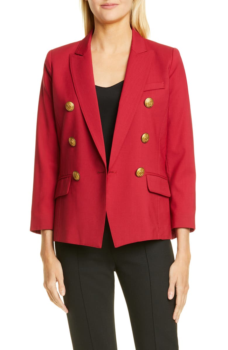 SMYTHE Mini Double Breasted Blazer, Main, color, POMEGRANATE