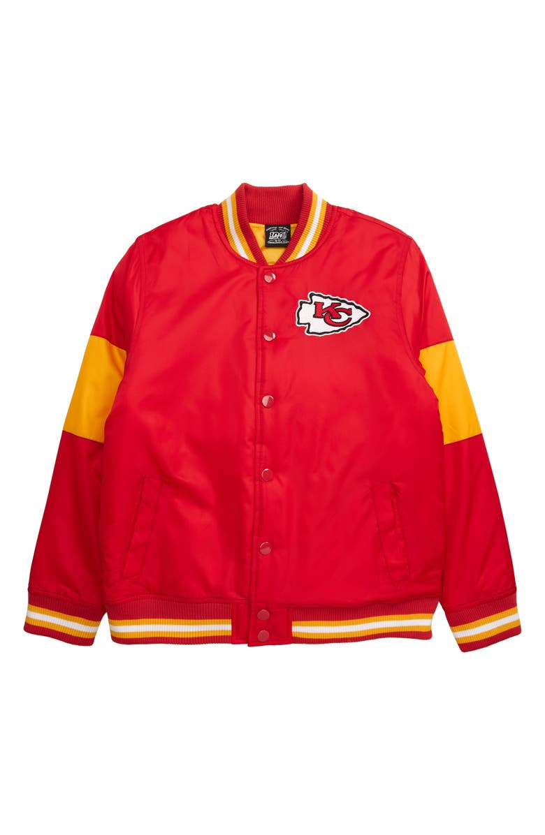 OUTERSTUFF NFL Logo Kansas City Chiefs Throwback Varsity Jacket, Main, color, UNIVERSITY RED