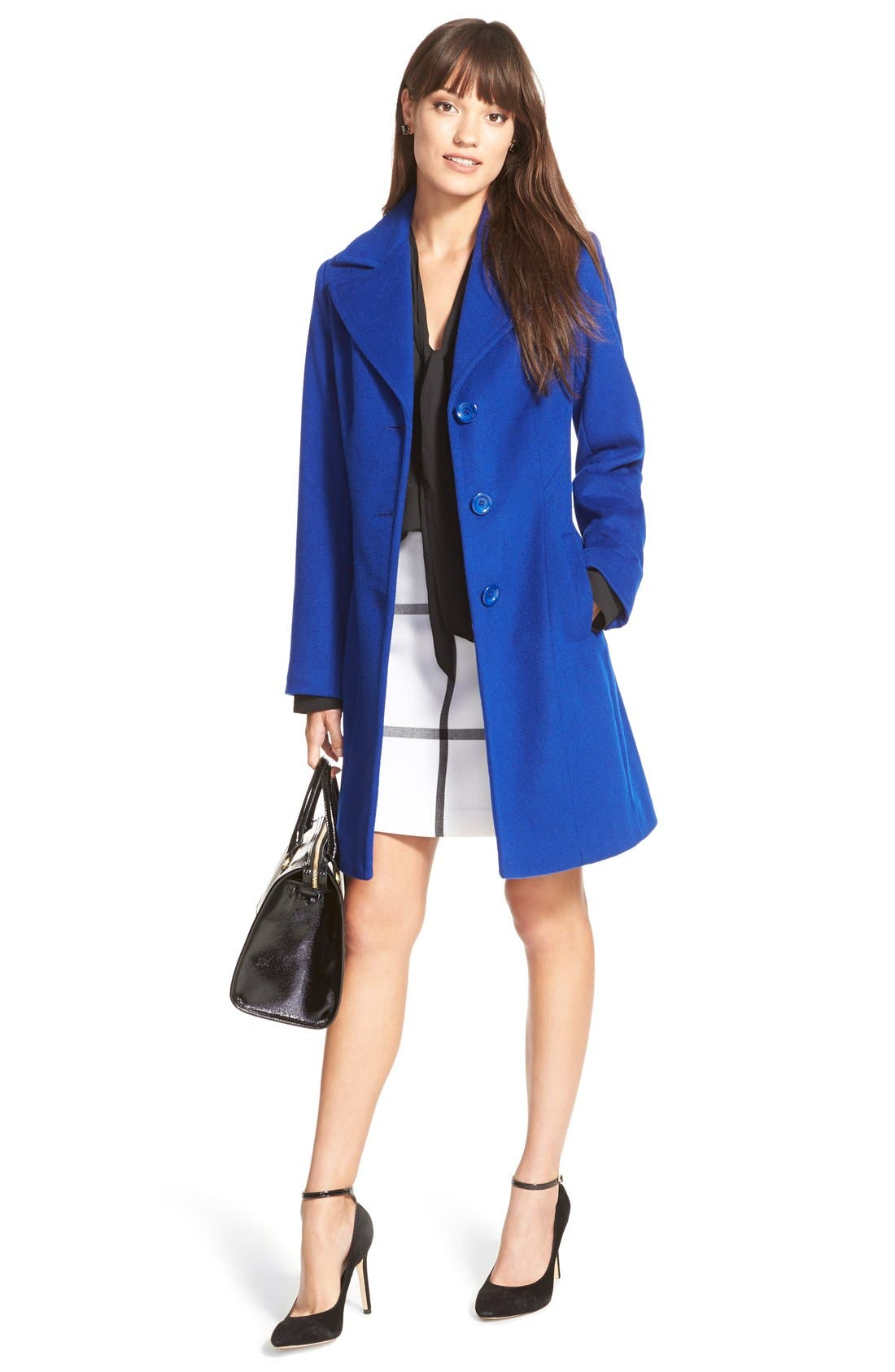 ,                             Single Breasted Wool Blend Coat,                             Alternate thumbnail 7, color,                             402