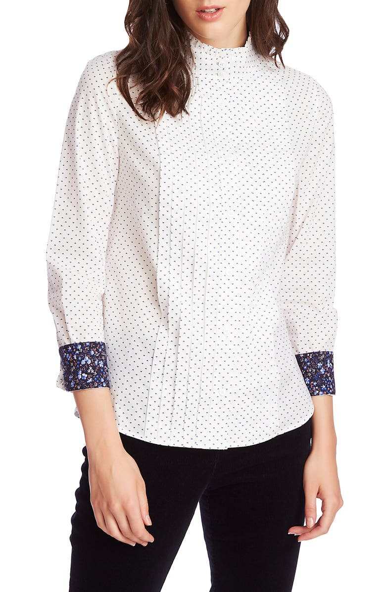COURT & ROWE Heritage Foulard Pleated Button-Up Cotton Shirt, Main, color, ULTRA WHITE