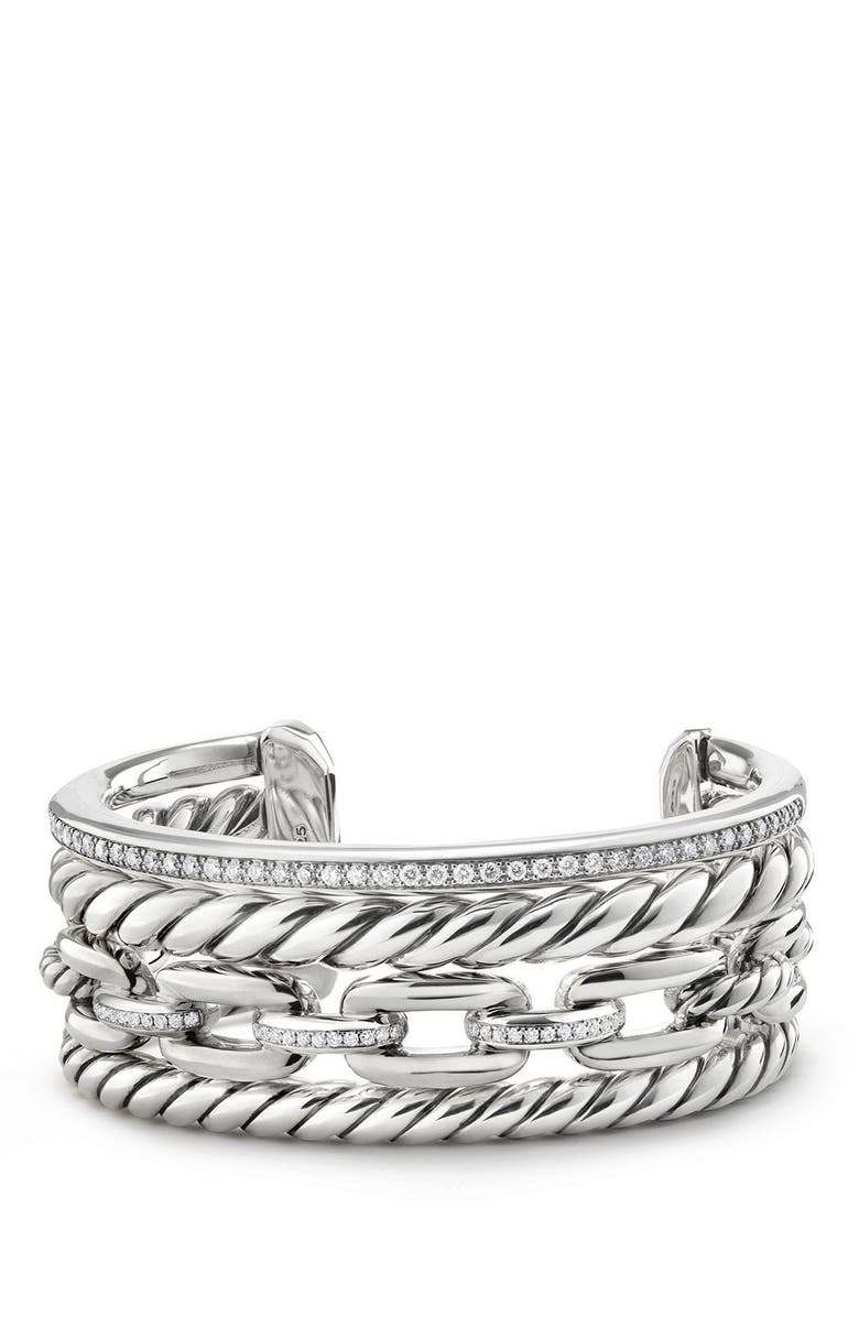 DAVID YURMAN Wellesley Link Cuff with Diamonds, 27mm, Main, color, SILVER