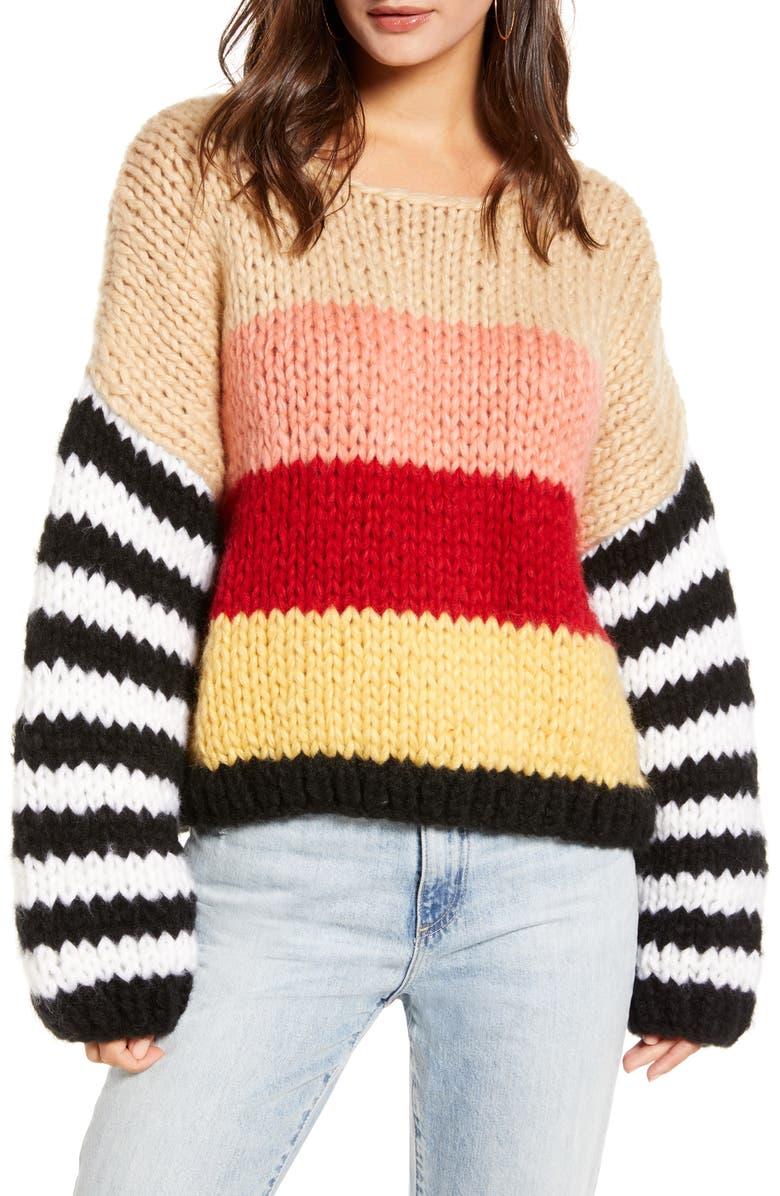 BLANKNYC Sweetheart Stripe Sweater, Main, color, 650