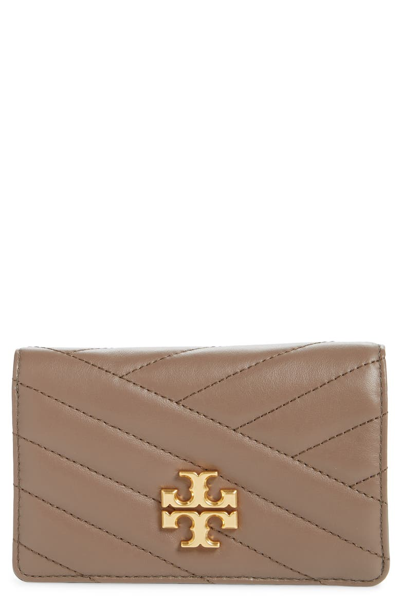 TORY BURCH Medium Kira Quilted Leather Wallet, Main, color, CLASSIC TAUPE