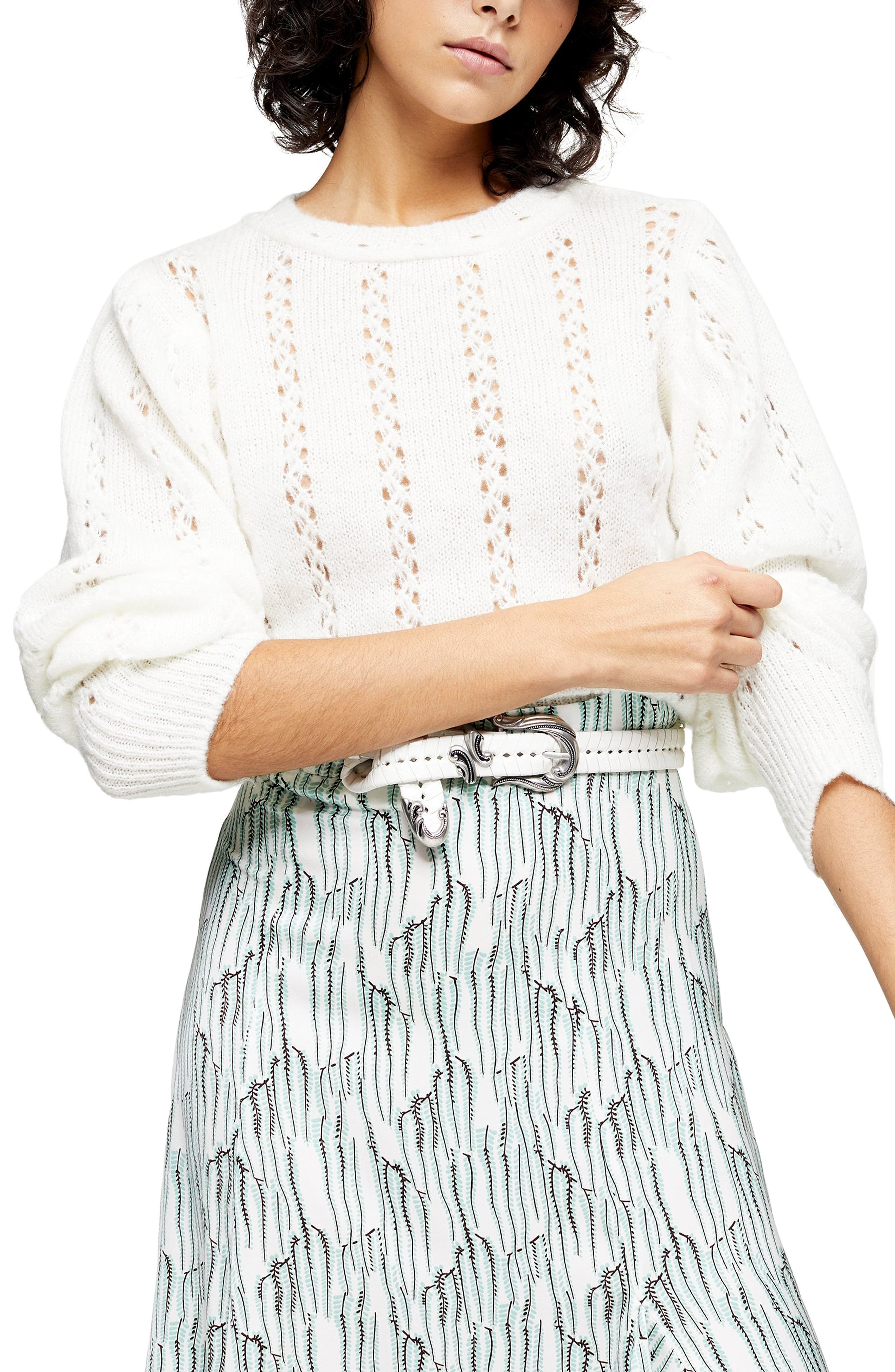 Vintage Sweaters – 1910s, 1920s, 1930s Pictures Womens Topshop Idol Pointelle Crop Sweater $27.98 AT vintagedancer.com