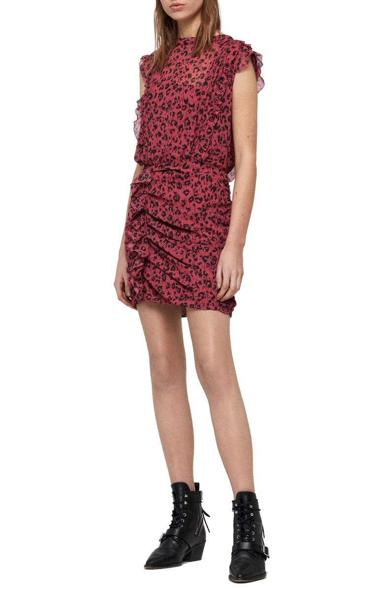 ALLSAINTS Hali Roar Animal Print Minidress, Main, color, 650