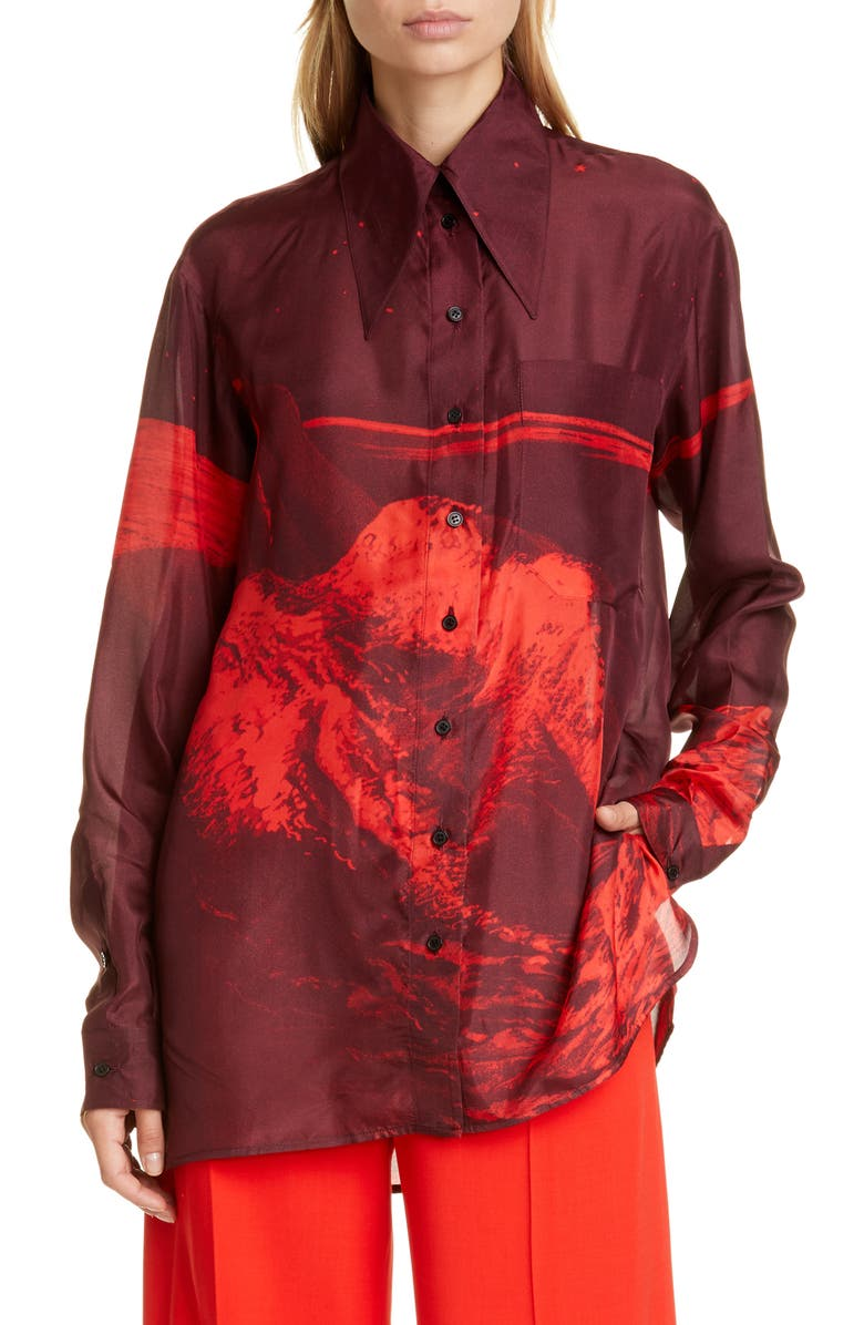 KWAIDAN EDITIONS '70s Collar Oversized Habotai Silk Shirt, Main, color, MOON PRINT RED