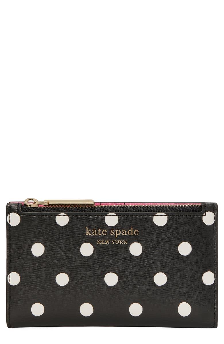 KATE SPADE NEW YORK spencer sunshine dot bifold wallet, Main, color, BLACK MULTI