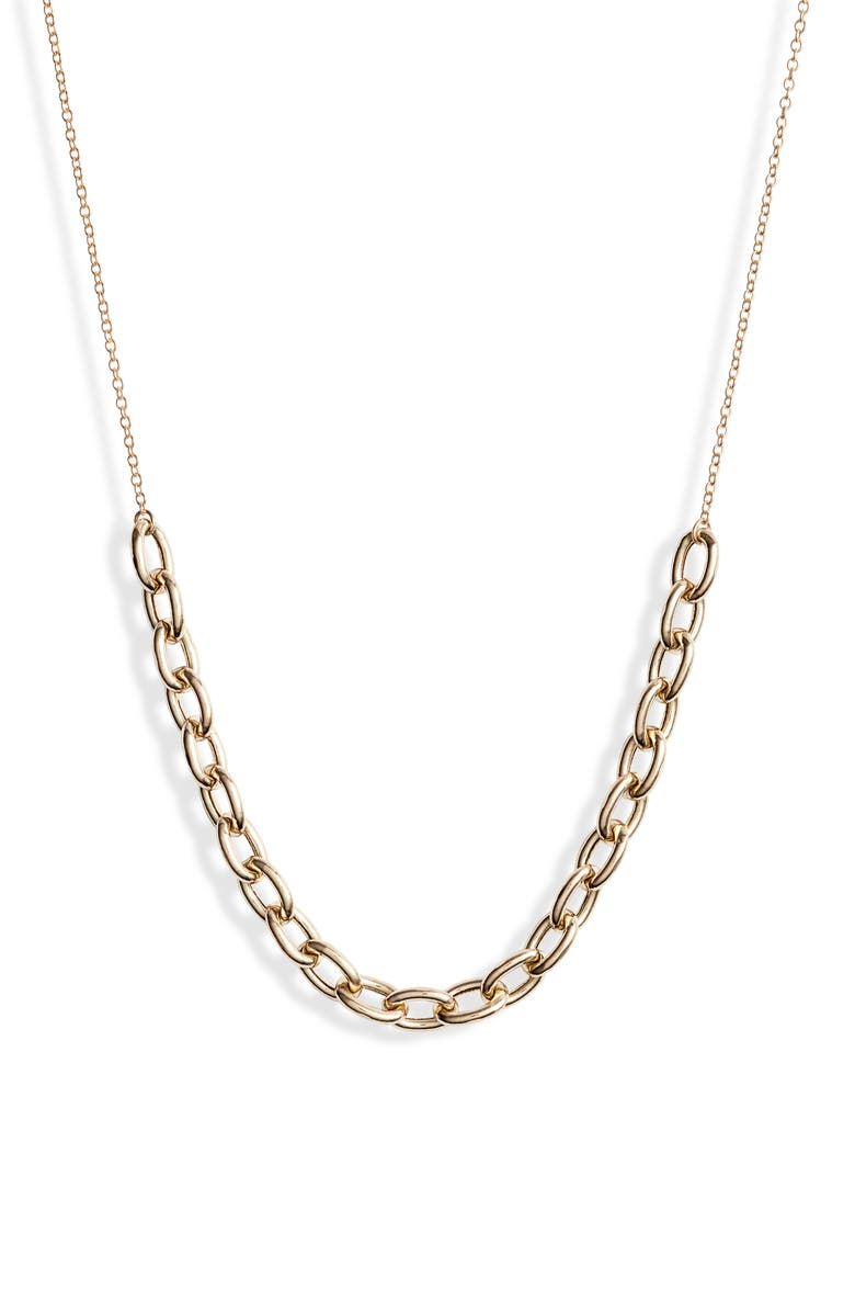 ZOË CHICCO Oval Link Station Necklace, Main, color, YELLOW GOLD