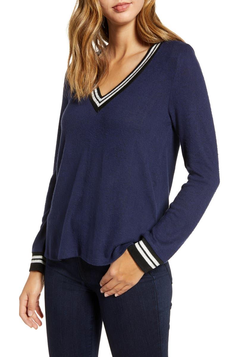 BOBEAU Varsity Cozy V-Neck Long Sleeve Top, Main, color, MIDNIGHT NAVY