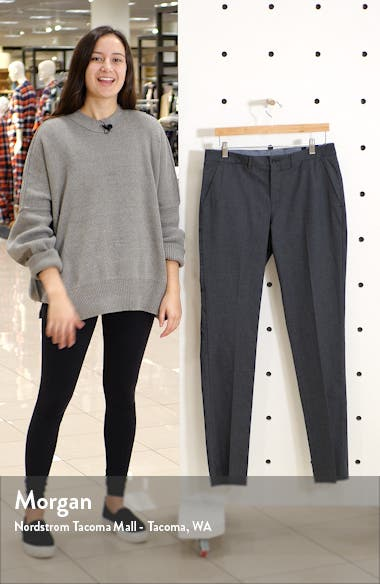 Extra Trim Fit Flat Front Stretch Cotton Trousers, sales video thumbnail