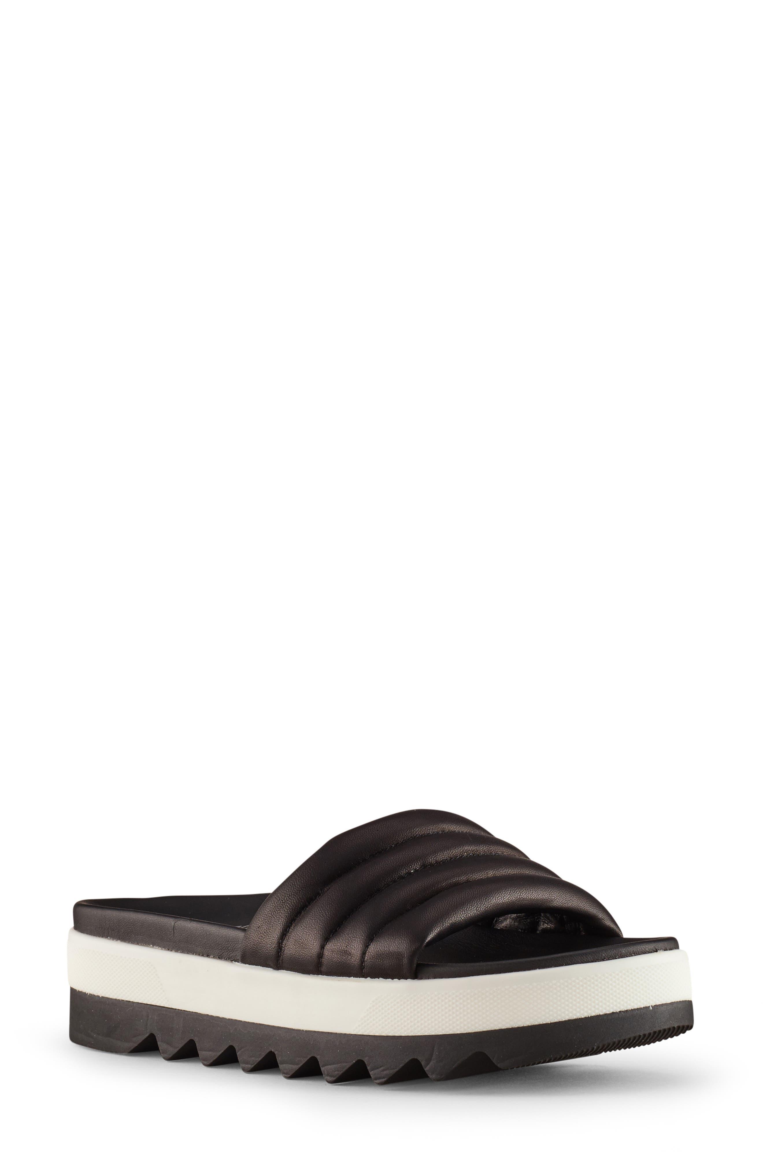 ,                             Prato Slide Sandal,                             Main thumbnail 1, color,                             BLACK LEATHER