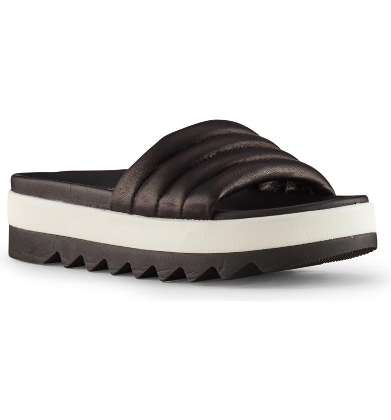 COUGAR Prato Slide Sandal, Main, color, BLACK LEATHER