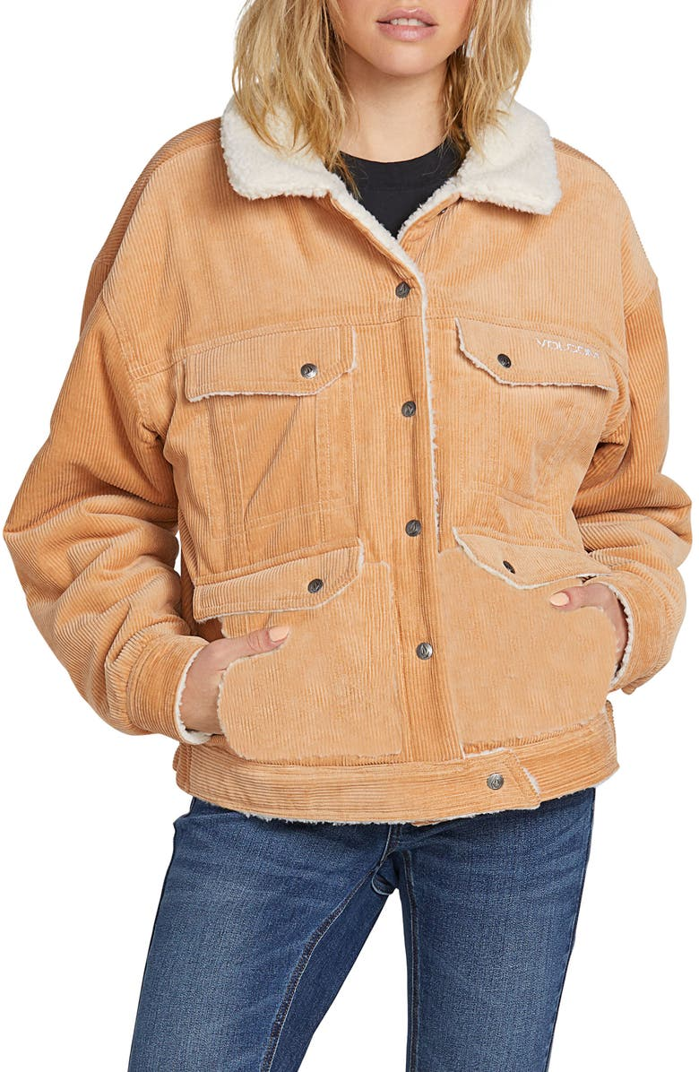VOLCOM Woodstone Reversible Corduroy & Fleece Jacket, Main, color, CAMEL