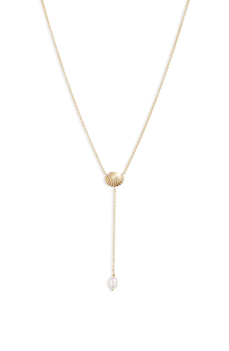 GORJANA Seashell Y-Necklace, Main, color, FRESHWATER PEARL