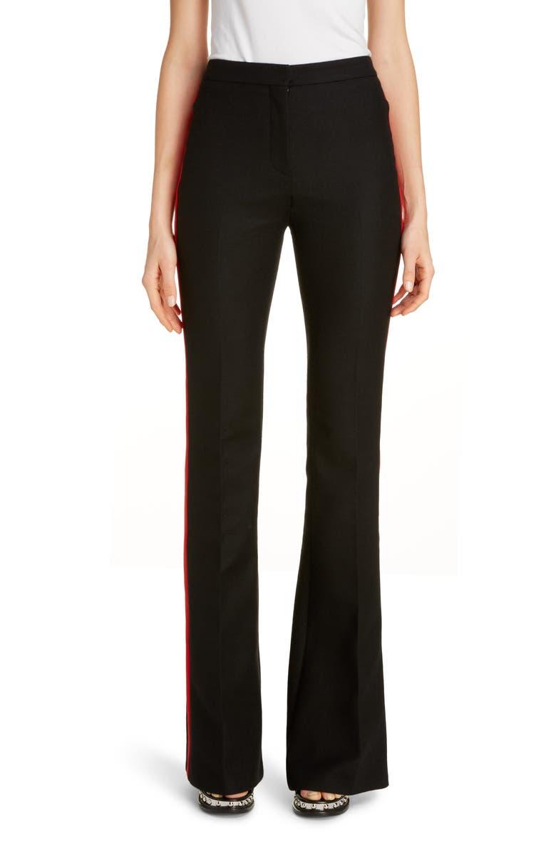 ALEXANDER MCQUEEN Wool & Silk Blend Flare Tuxedo Pants, Main, color, BLACK / LUST RED