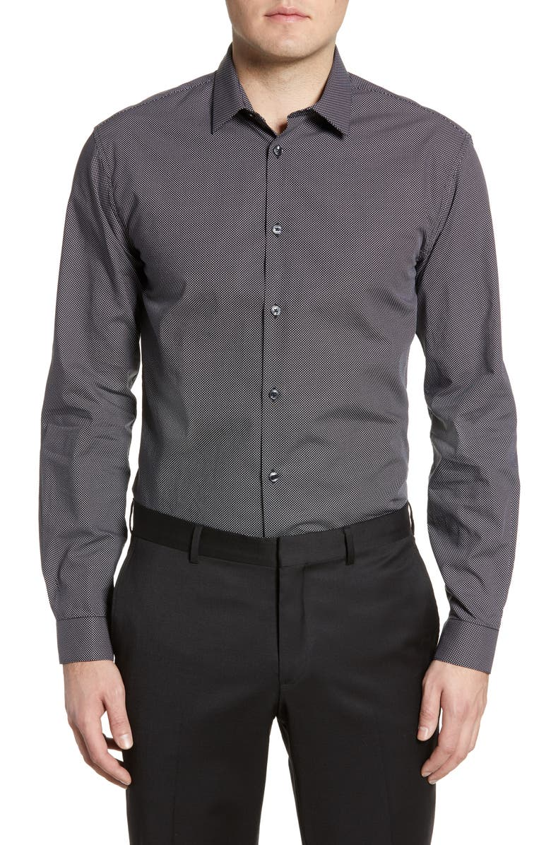 JOHN VARVATOS STAR USA Slim Fit Dot Dress Shirt, Main, color, BLACK/ WHITE