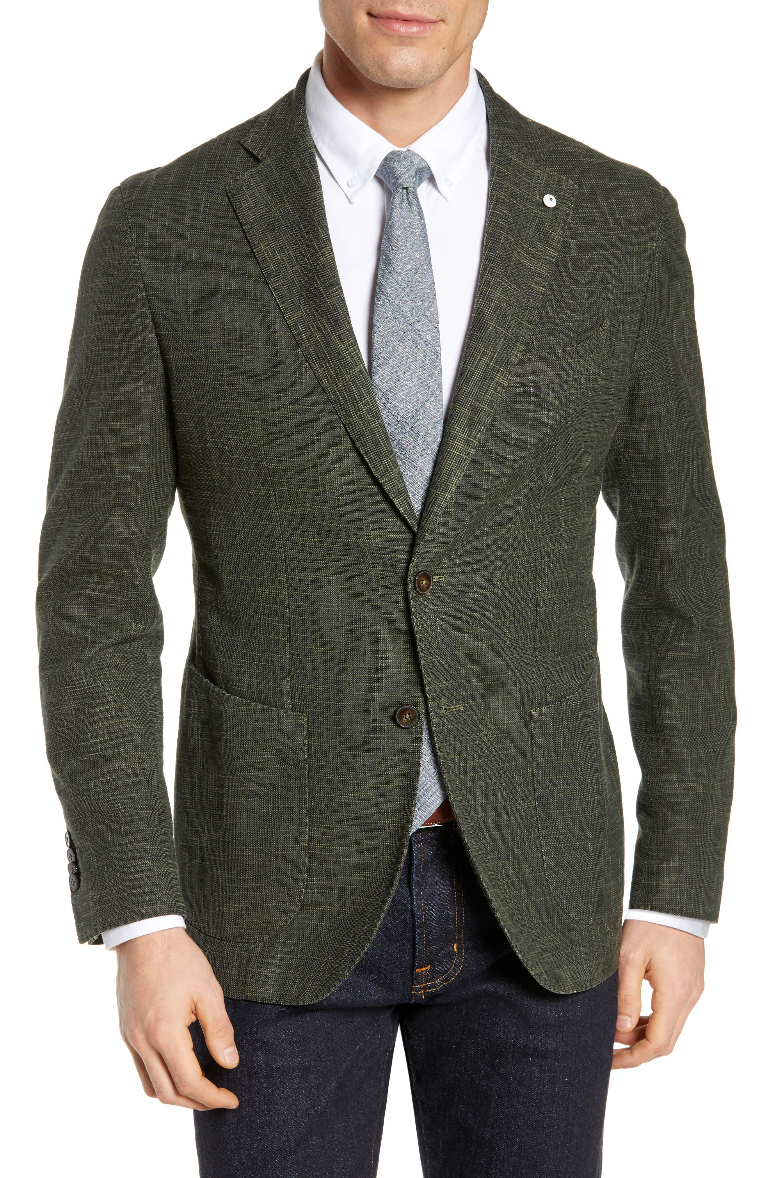 Trim Fit Cotton Blend Sport Coat, Main, color, DARK GREEN