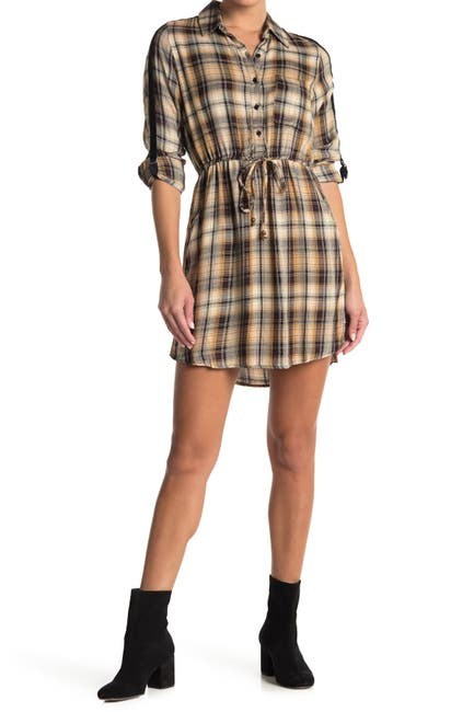 Image of Angie Plaid Shirt Dress