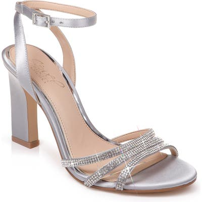 Jewel Badgley Mischka Crystal Embellished Ankle Strap Sandal- Metallic