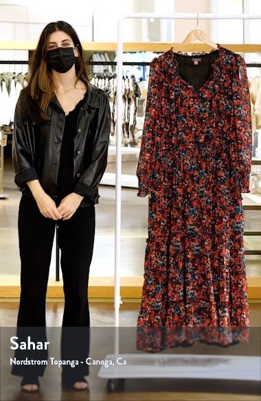Autumn Floral Print Tiered Long Sleeve Maxi Dress, sales video thumbnail