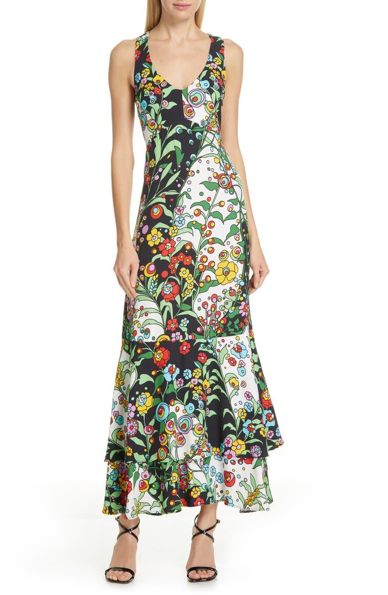 LA DOUBLEJ Molly Girl Print Sable Satin Mermaid Dress, Main, color, HOLLY HOCK