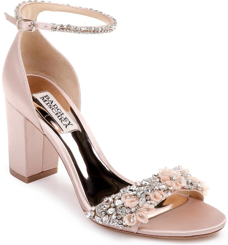 BADGLEY MISCHKA COLLECTION Badgley Mischka Finesse Ankle Strap Sandal, Main, color, SOFT BLUSH SATIN