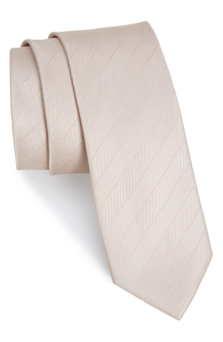 THE TIE BAR Herringbone Vow Silk Tie, Main, color, LIGHT CHAMPAGNE