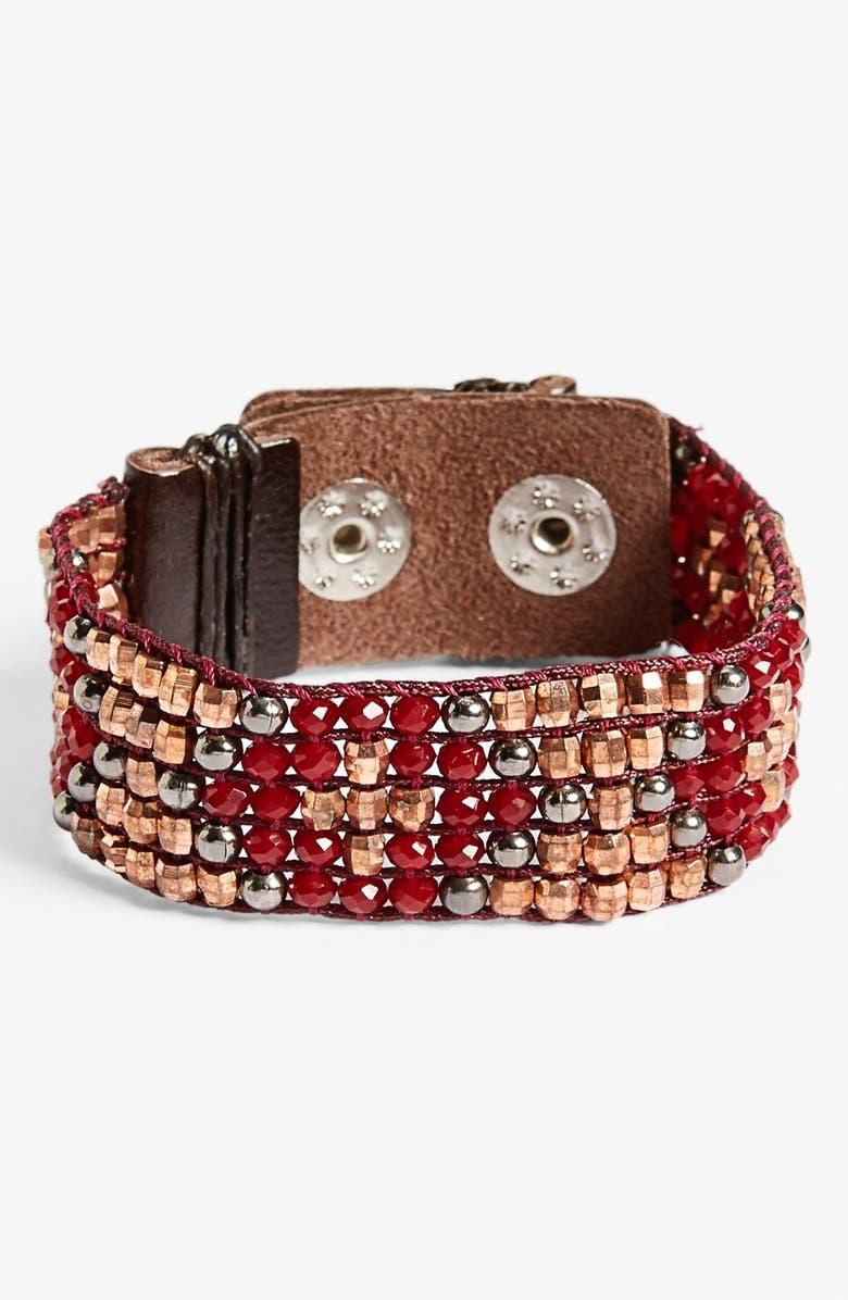 Nakamol Design Beaded Leather Cuff Bracelet Nordstrom