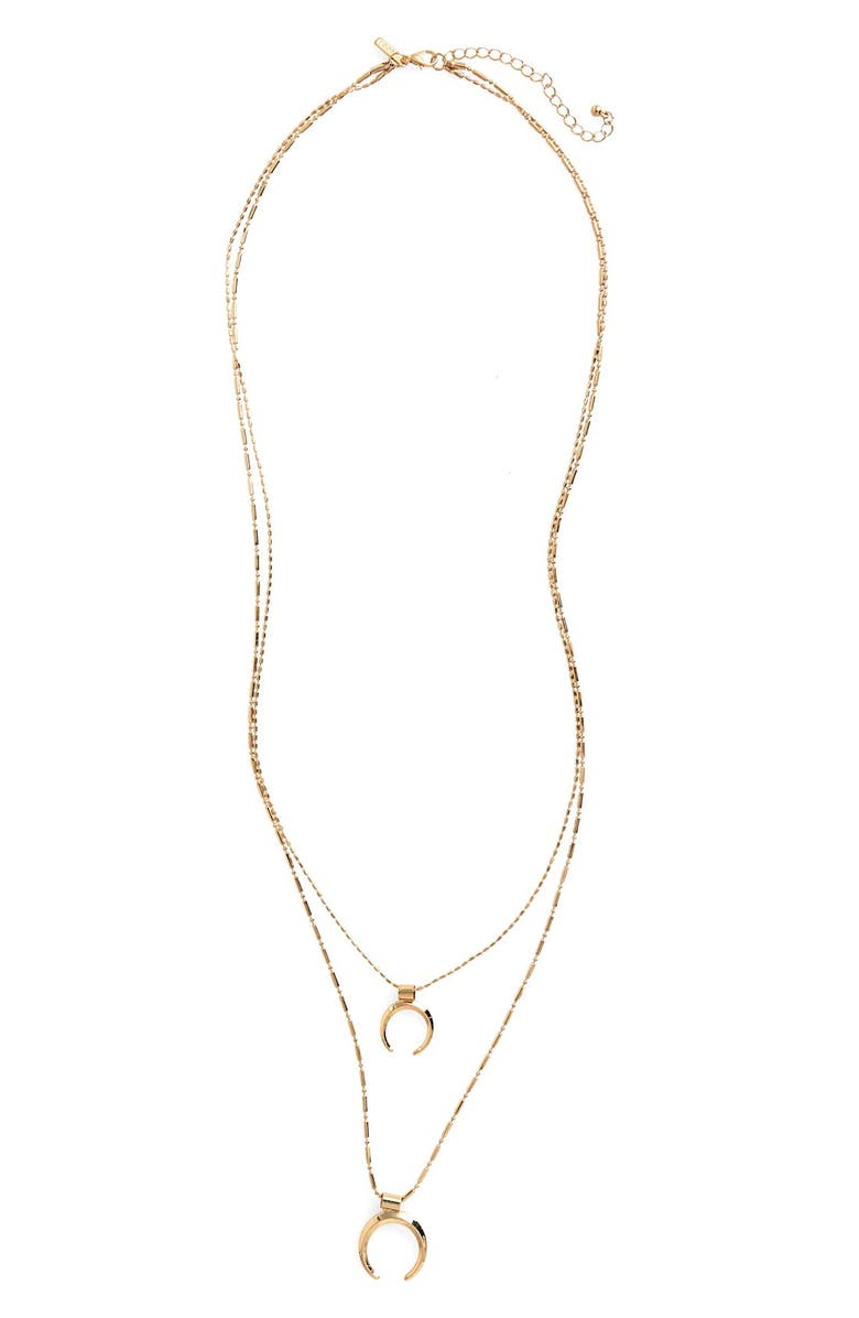 TOPSHOP Double Tusk Layer Necklace, Main, color, 710
