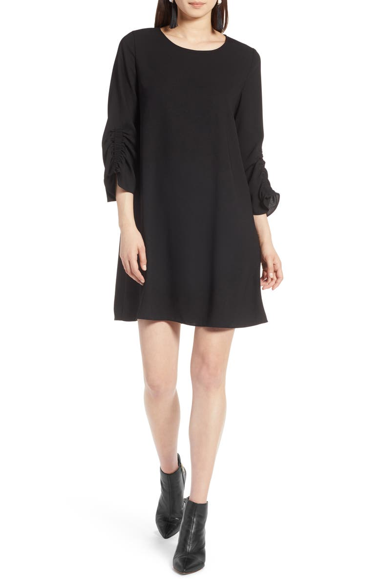 HALOGEN<SUP>®</SUP> Ruched Sleeve Swing Dress, Main, color, 001