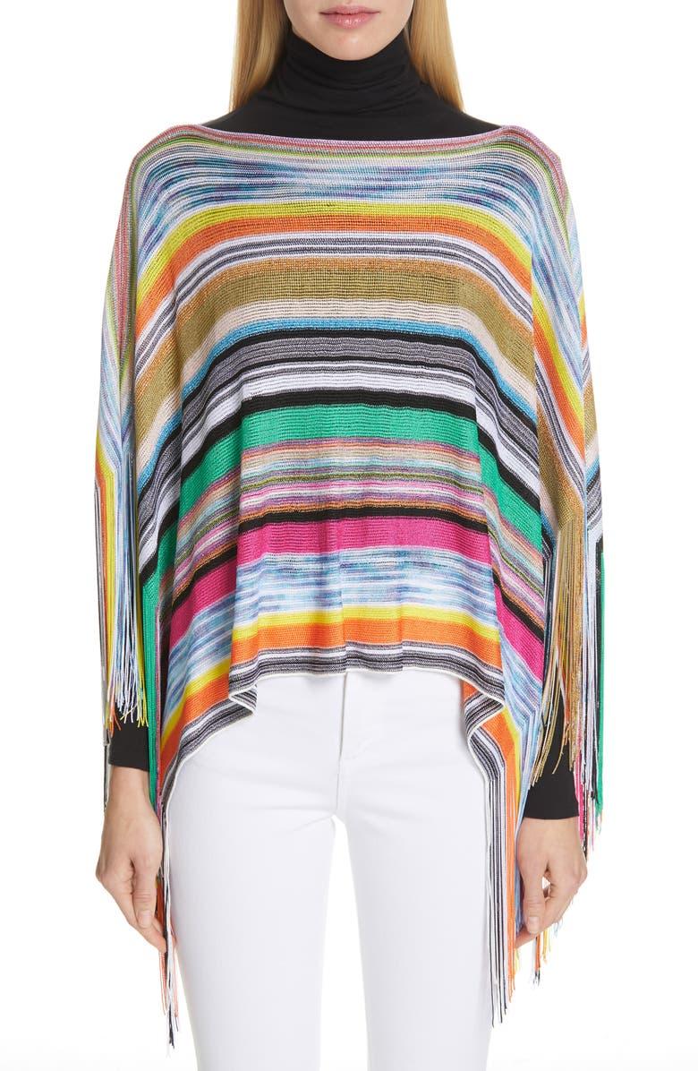 MISSONI Stripe Fringe Poncho, Main, color, 650