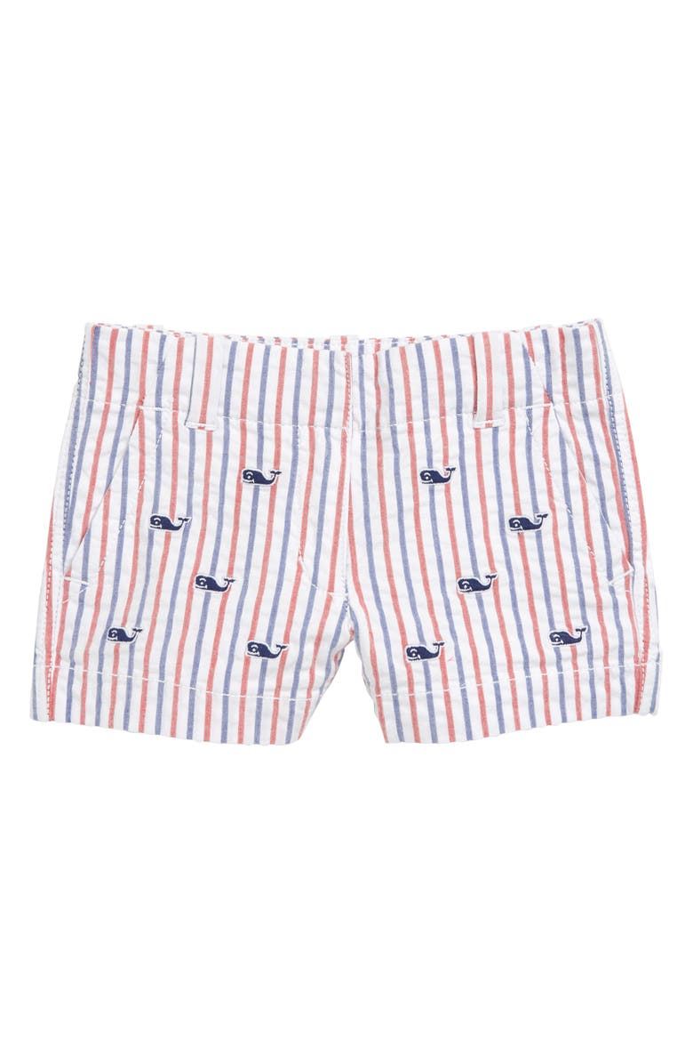 VINEYARD VINES Fireworks Embroidered Seersucker Shorts, Main, color, LIGHTHOUSE RED