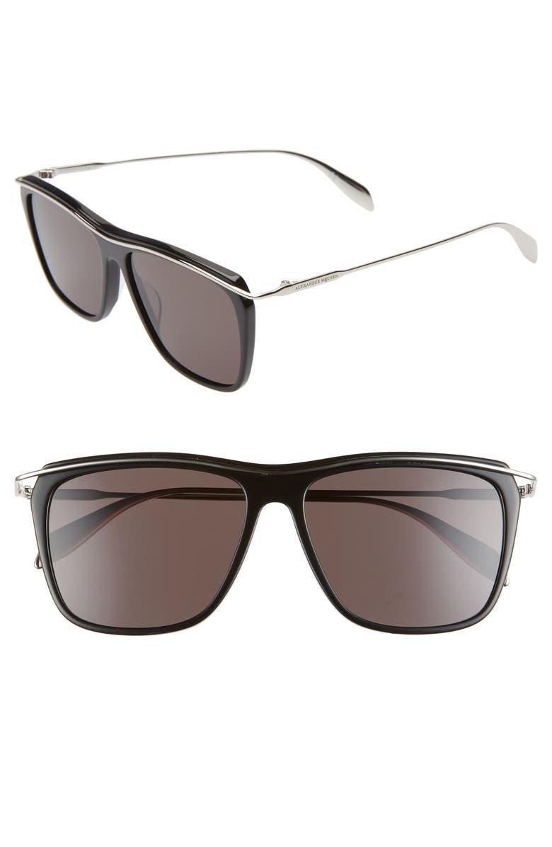 ALEXANDER MCQUEEN 56mm Square Sunglasses, Main, color, BLACK