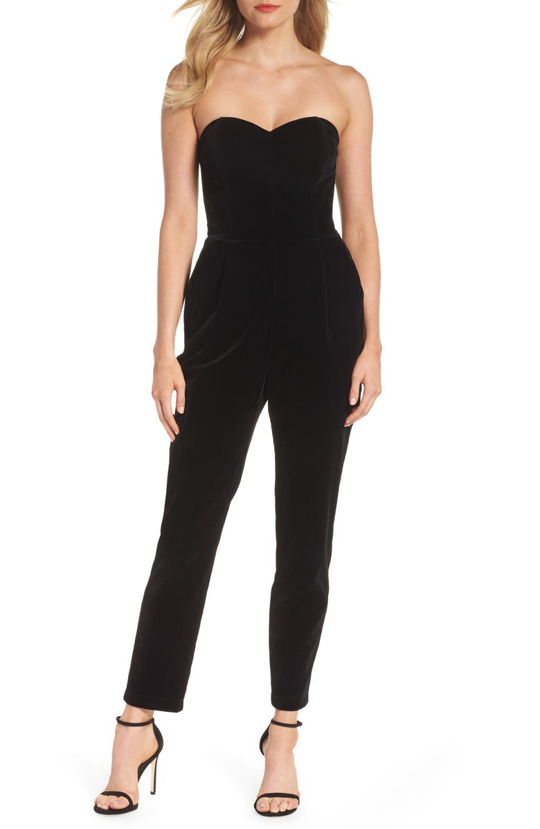 ADELYN RAE Hayden Strapless Velvet Jumpsuit, Main, color, BLACK