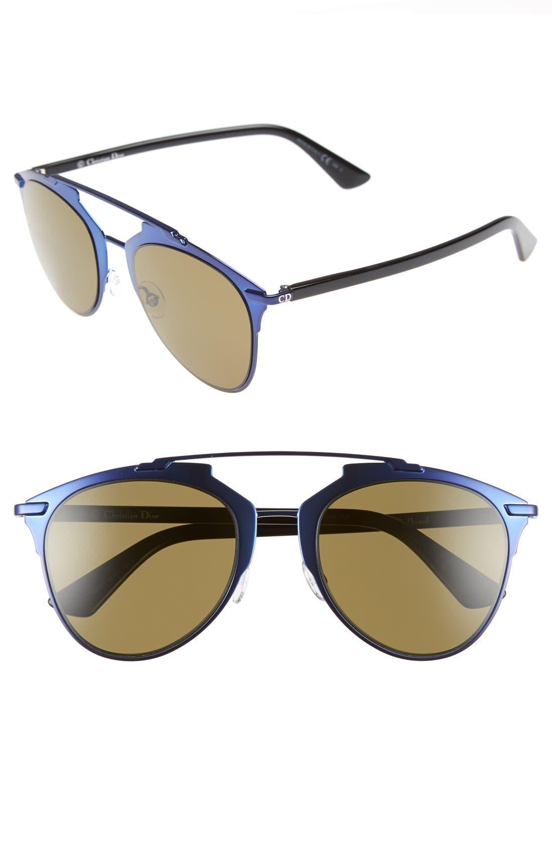 ,                             Reflected 52mm Brow Bar Sunglasses,                             Main thumbnail 19, color,                             400